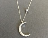 925 Silver Moon Necklace, Star necklace, Star and Moon Jewelry, layering necklace, Crescent Moon Necklace, I Love you to the moon and back.