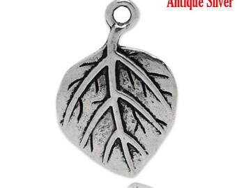 5 Pieces Antique Silver Leaf Charms Pendants 21x14mm
