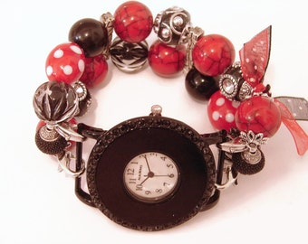 Red and Black Chunky Beaded Watch-Interchangeable Red and Black Watch-Beaded Beaded Bracelet - Valentine Watch-Unique Watch-BeadsnTime