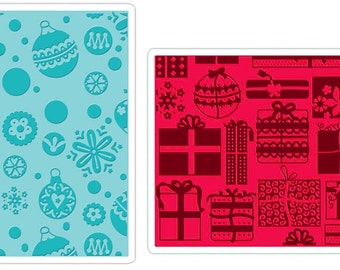 ORNAMENTs GIFTs and SNOWFLAKEs - SIZZIX CHRISTMAS Embossing Folder Set - A2 size - Price Reduced !