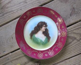 victorian lady porcelain decorator plate mark on back edwardian