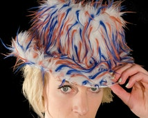 Faux Fur Fedora Hat Red/Blue/White Spiked Monster Fluffy Rave Party Club Gear Furry pimp hat Halloween outfit idea Christmas New Years