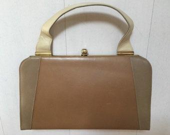 1960s Taupe Johansen Pocketbook Vintage Handbag