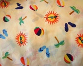 Light Yellow Beach Print Cotton Fabric by Lauren Lee Ltd.  Two and One-Half Yards