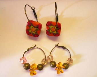 Bronze Hoop Earrings with Acrylic and Bronze Beads OR with Red Orange Yellow and Black Cane Beads