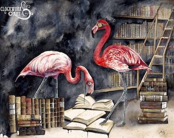 The Curators: Fine Art Flamingo Watercolour Bird Print
