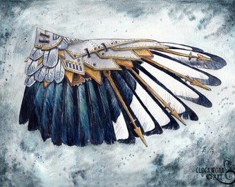 SALE! Magpie Wing: A Study in Clockwork - Steampunk Fine Art Watercolour Print