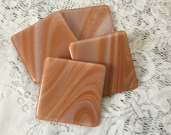 Fused Glass Coasters, Set of 4 Caramel Cream Art Glass Coasters, Drink and Barware