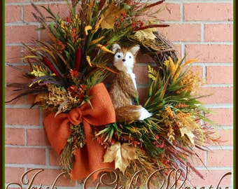 "MADE to ORDER Fox hidden in the Autumn Field XL Fall Wreath, Sisal 12"" Fox, Rustic, Large, rust, orange, burlap, cattails"