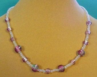 "Sparkling 17"" Lampworked Glass Necklace - N360"
