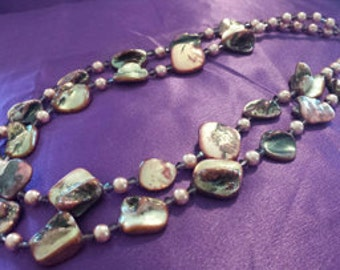 Double Strand Shell Nugget Necklace with Violet Swarovski Crystals and Pink Pearls