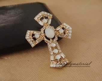 1PCS Bling Gem Crystal Cross Flatback Alloy jewelry Accessories materials supplies