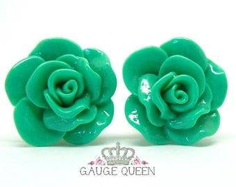 "Mint Green Rose Plugs / Gauges. 4g / 5mm, 2g / 6.5mm, 0g / 8mm, 00g / 10mm, 1/2"" / 12mm, 9/16"" / 14mm by Gauge Queen on Etsy"