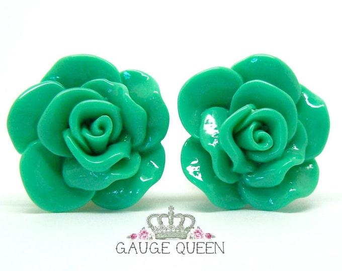 """Mint Green Rose Plugs / Gauges. 4g / 5mm, 2g / 6.5mm, 0g / 8mm, 00g / 10mm, 1/2"""" / 12mm, 9/16"""" / 14mm"""