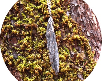 Black Kyanite Feather Blade Necklace