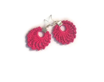Crochet earrings, Pink earrings, Cotton, Fibre jewellery, Dangle earrings, Crochet jewellery, Pink jewellery, Small earrings, Summer, OOAK