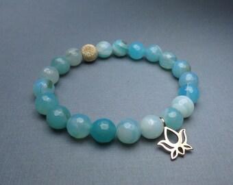Lotus Bracelet Blue Gemstone Agate Bracelet Blue Agate Stone Lotus Charm Yoga Bracelet Beaded Bracelet