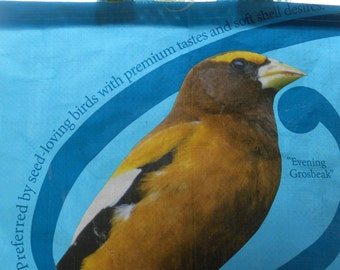 Evening Grosbeak Wild Bird Tote ~ upcycled sunflower seed bag into a sturdy tote!