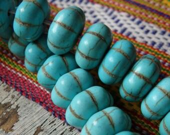 Large turquoise howlite beads - FULL strand, 14x8mm turquoise flat melon shape beads, large howlite beads, turquoise howlite pumpkin beads