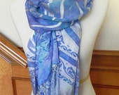 Hand dyed devore satin silk shawl with fringe, lavender and aqua silk scarf, ready to ship #416