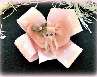 Elephant Hair Clip...Elephant Hair Bow...Pinwheel Hair Bow... Polka Dot Hair Bow...Pink Hair Bow...