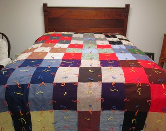 "Vintage Knotted Quilt Patchwork Pieced Blanket Comforter 69"" x 83"""