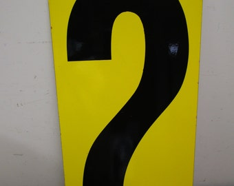 "HUGE 24"" Vintage Porcelain Number 0 & 2  Two Sided Sign Number ZERO TWO Sign Old Gas Station Number Black Yellow Panel"