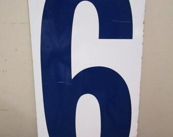 """HUGE 24"""" Vintage Porcelain Number 6 & 7 Two Sided Sign Number SIX SEVEN Sign Old Gas Station Number Blue White Panel"""