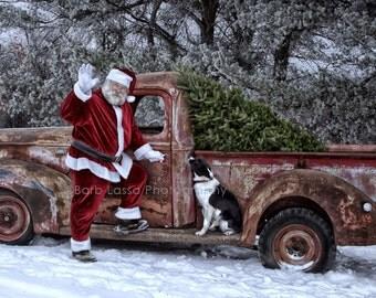 Santa, Tess, Border Collie, 1941 Ford Pickup Truck, Fine Art, Photograph, Barb Lassa, Winter, Christmas, Print