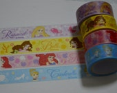 A Set of 4 Rolls Japanese Washi Masking Paper Tape: Disney Princess Rapunzel, Belle, Ariel, and Cinderella