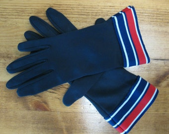 Vintage 1950's Navy Red and White Wrist Gloves Ladies Nautical Gloves