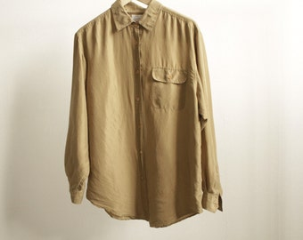 90s olive tan SILK oversize slouchy t shirt blouse