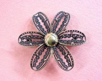 Signed BEAU Sterling Flower Power Brooch Mid Century