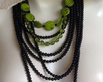 Multi Strand Long Beaded Necklace, Lime Green/Black Mother Of Pearl, Black Glass, .925 Sterling Silver