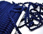 1 spool mini pom fringe - 36 yards - navy blue - sewing - papercraft - diy - party favor - gift wrap