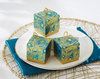 Teal Wedding Favor Boxes; Wedding Favor Boxes; Teal Favor Boxes; Gold Favor Boxes;