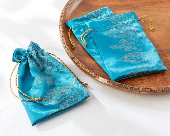 Wedding favor bags teal favor bags bridal shower favors unique