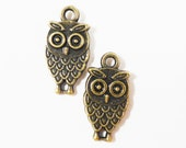 Bronze Owl Charms 17x9mm Antique Brass Metal Owl Charm, Bird Charms, Double Sided Owl Pendants, DIY Jewelry Making Craft Supplies 10pcs