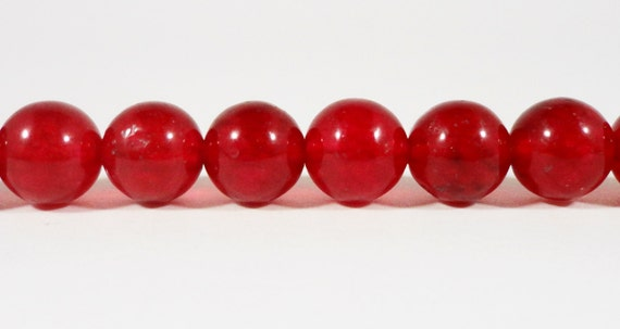 Red Jade Beads 8mm Round Jade Gemstone Beads Deep Red Candy Jade Beads Mountain Jade Stone Beads (Dyed) on a 7 1/4 Inch Strand with 23 Beads