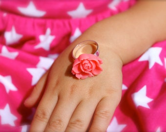 Pink Open Rose Ring - Vintage Style