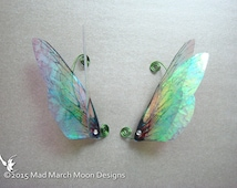 Large Rainbow Fairy Wing Ear Cuffs, iridescent hand wound clip on ear cuff.
