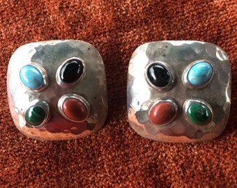 Vintage Sterling lovely 925 Mexican signed clip cabochon earrings