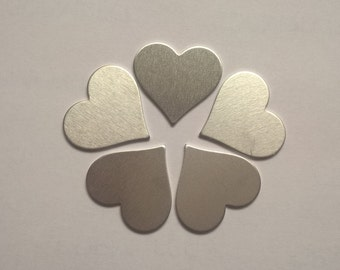 Heart Shaped Stamping Blank 1 inch, 14g Aluminum Stamping Blanks Stamping Supplies, Hand Stamping Jewelry Supplies