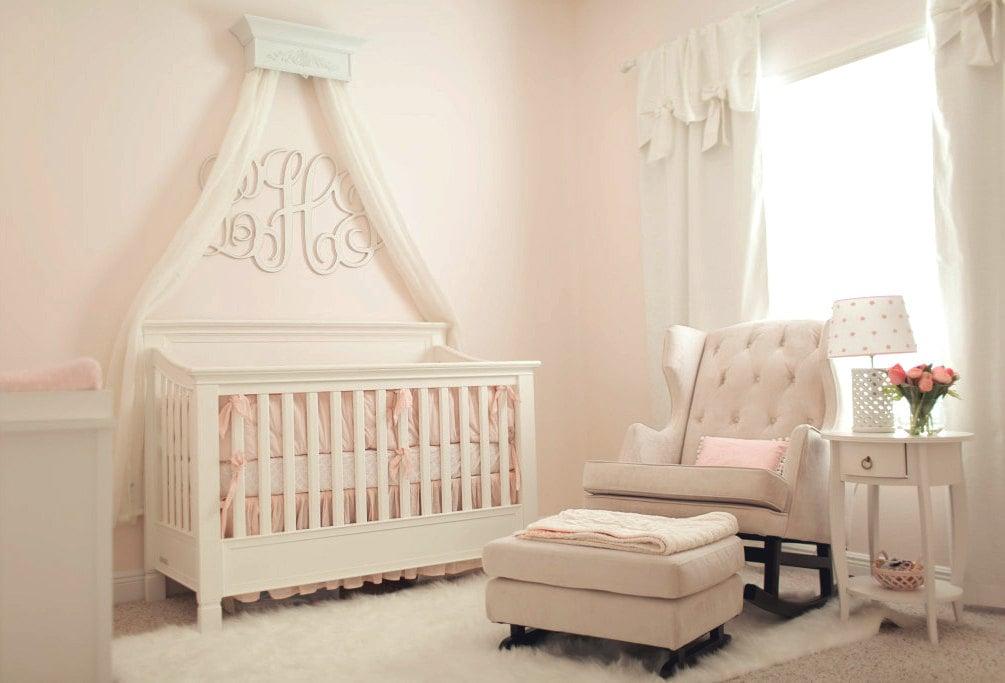 Crib crown bed crown canopy baby girl nursery girl bedroom for Baby girl canopy cribs