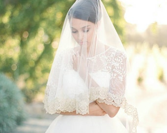 Bridal Veil, Gold Lace Veil, GINA Cathedral Veil, Bridal Veil, Mantilla Veil, Drop Veil, Lace Cathedral Veil, Bridal Illusion Tulle Veil