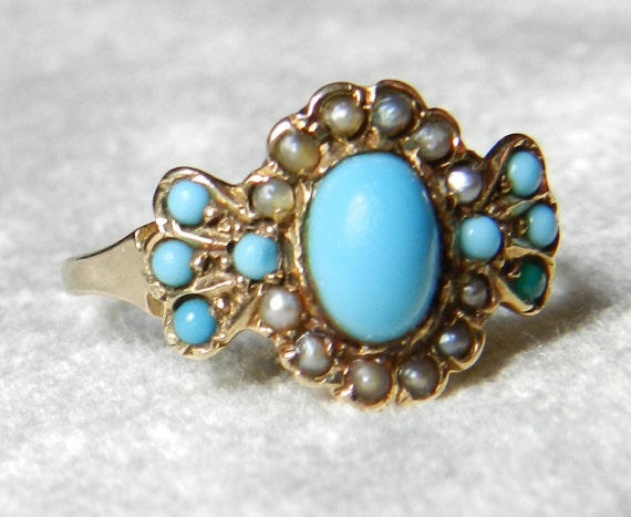 Victorian Turquoise Ring 1800s Rose Gold Engagement Ring