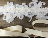 Courcelle lace bridal sash with pearls, ivory wedding belt with off white lace