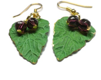 Green Leaf Earrings with Purple Beads and Gold Detailing