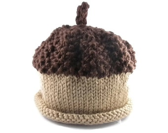 Hand Knit Baby Acorn Hat - Made to Order
