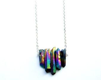 Rainbow Aura Quartz Raw Crystal Chevron Necklace Titanium Quartz   Sterling Silver, Silver-Plated, Gunmetal, Antiqued Brass, Antiqued Copper